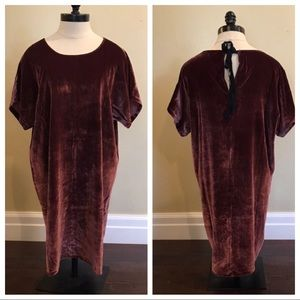NWT Madewell Velvet Bow Shift Dress Tunic Silk
